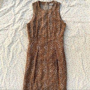 Authentic Burberry Leopard Print Midi Sheath Dress